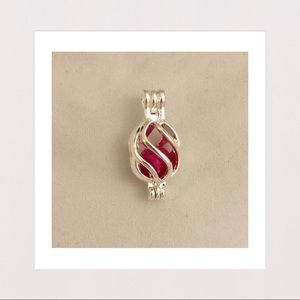 Jewelry - Genuine Freshwater Pearl in Caged Pendant | Pink
